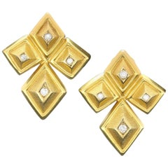 Ilias Lalaounis Pair of 18 Carat Gold Geometric Earrings, circa 1970s