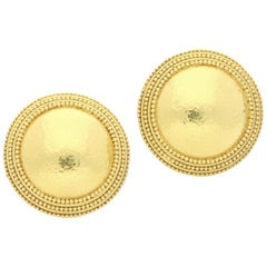 Ilias Lalaounis Pair of 18 Carat Gold Hammered Dome Clip Earrings, circa 1970s