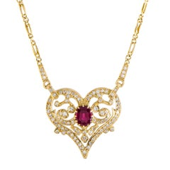 Ilias Lalaounis Ruby and Diamond Heart Gold Pendant Necklace