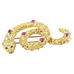 Ilias Lalaounis Ruby Diamond 18 Karat Yellow and White Gold Snake Pin