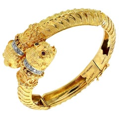 Ilias Lalaounis Ruby & Diamond Chimera Bangle Bracelet 18 K Yellow Gold 57 Gram