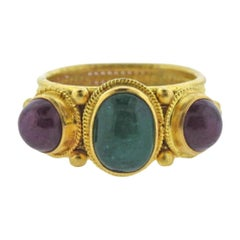 Ilias Lalaounis Ruby Emerald 22 Karat Yellow Gold Band Ring