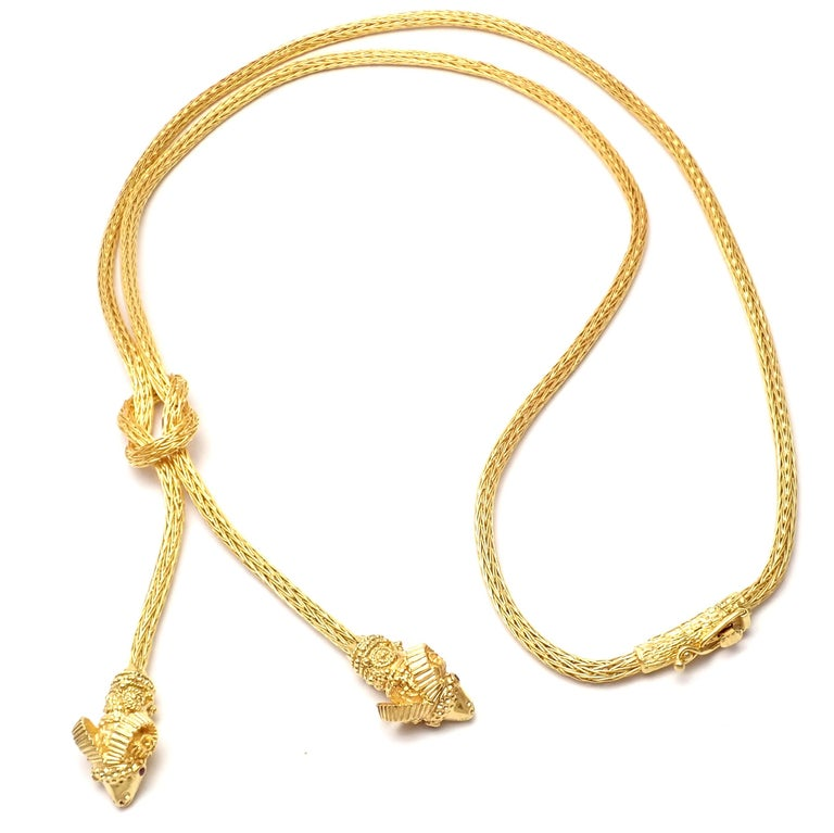 Ilias Lalaounis Ruby Hercules Knot Ram Head Yellow Gold Necklace 2