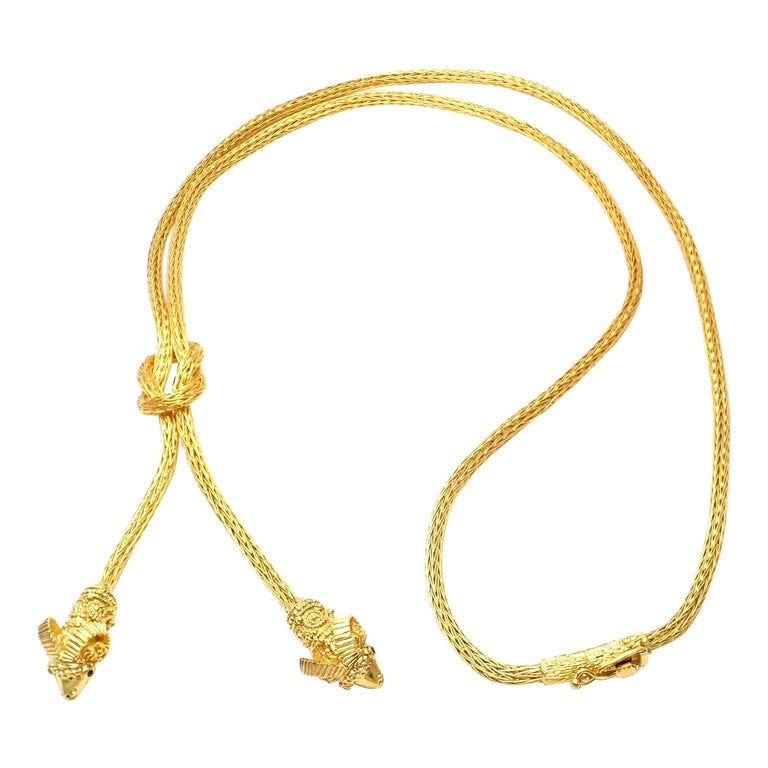 Ilias Lalaounis Ruby Hercules Knot Ram Head Yellow Gold Necklace