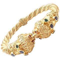 Ilias Lalaounis Sapphire Emerald Ruby Chimera Yellow Gold Bangle Bracelet