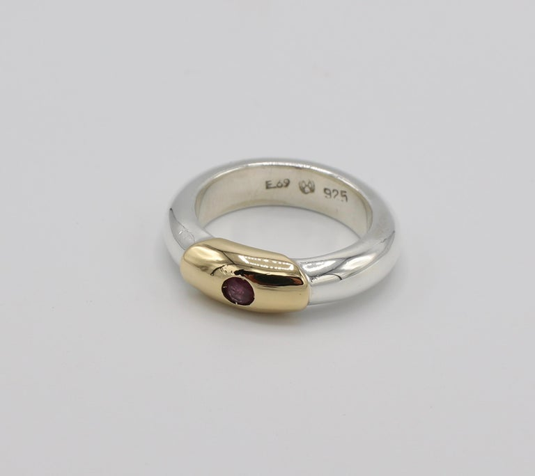 Contemporary Ilias Lalaounis Sterling Silver and 18 Karat Gold Ruby Stackable Band Ring For Sale
