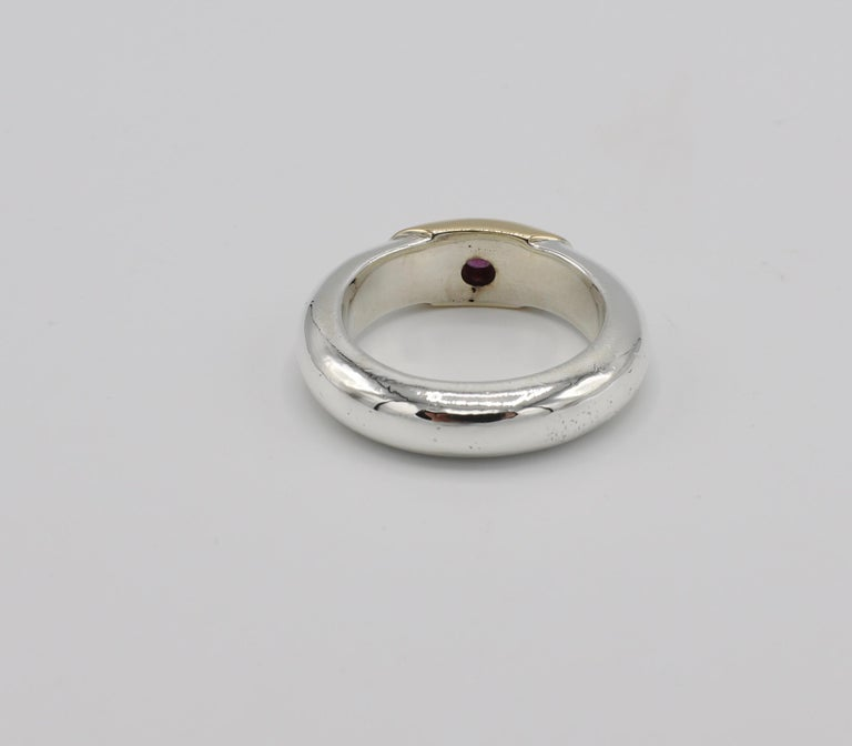 Round Cut Ilias Lalaounis Sterling Silver and 18 Karat Gold Ruby Stackable Band Ring For Sale