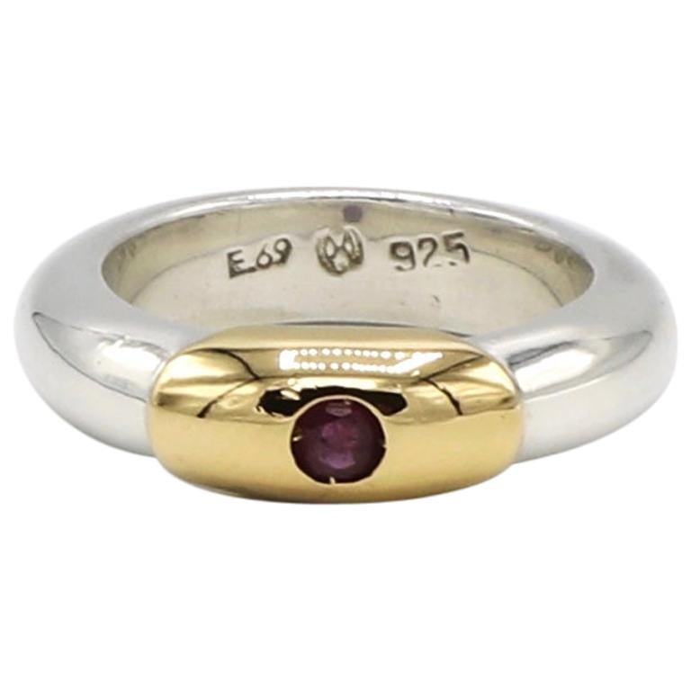 Ilias Lalaounis Sterling Silver and 18 Karat Gold Ruby Stackable Band Ring For Sale