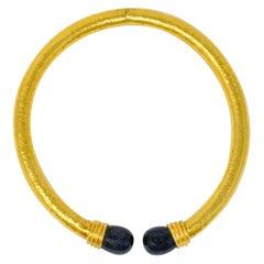 Ilias Lalaounis Vintage Sodalite 22 Karat Gold Torque Collar Necklace