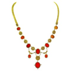 Ilias Lalaounis Yellow Gold Corved Carnelian Necklace