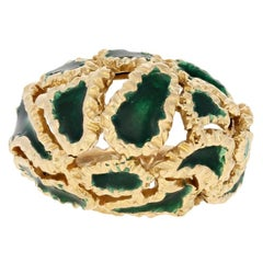 Ilias Lalaounis Yellow Gold Ring, 18 Karat Green Enamel Dome Women's