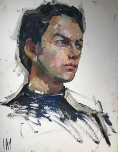 "Iliya Mirochnik, ""Male Portrait study"", 20in x 15.75in, oil on board"