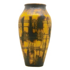 Ilkra Keramiek 'Germany', Large Floor Vase with 'Radio Waves' Decor in Relief