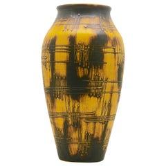 Ilkra Keramiek Germany, Large Floor Vase with 'Radio Waves' Decor in Relief