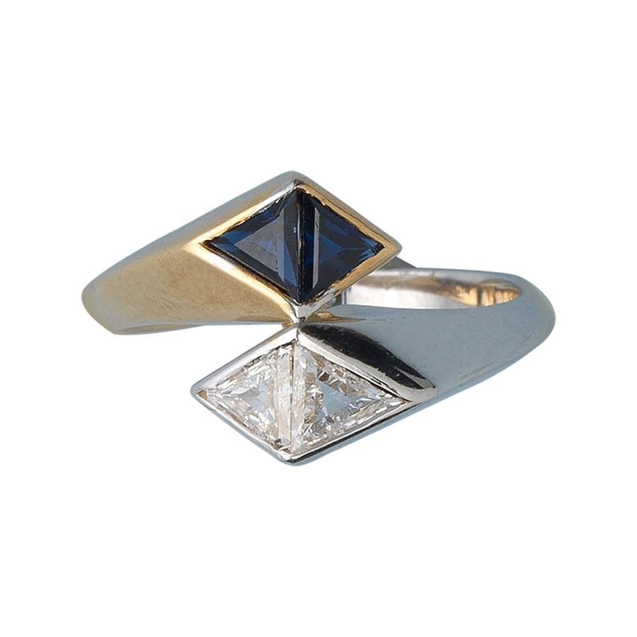 Illario Diamond and Sapphire 'Toi et Moi' Ring