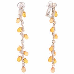 Illario Spargolo Earrings in White Gold, Diamonds and Yellow Sapphires
