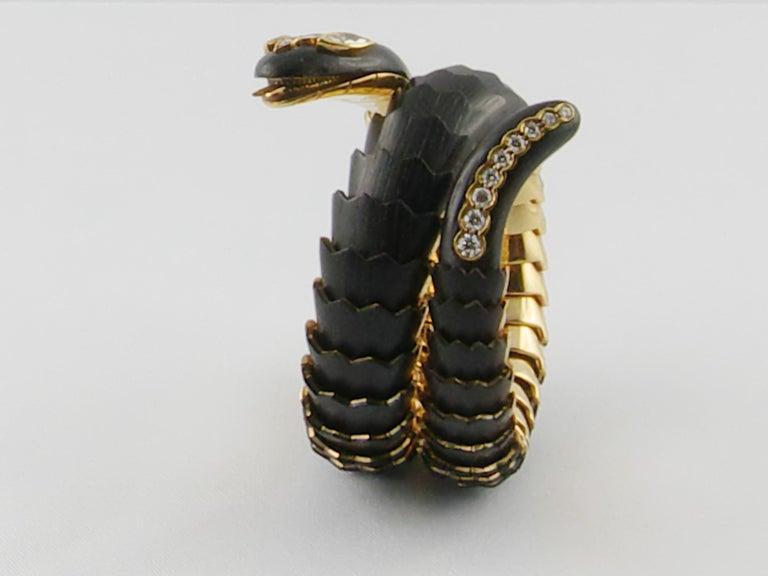 Women's Illario Wood Yellow Gold and Diamonds Snake Bracelet For Sale