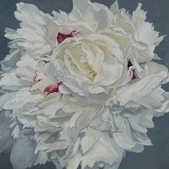 "Illia Barger, ""Deidre"" floral painting, peony, tonal study in white"