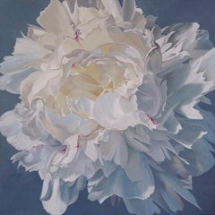 "Illia Barger, ""Louise"" floral painting, peony, tonal study in white"