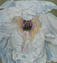 "Illia Barger, ""Zoe"" floral painting, tree peony, tonal study in white"