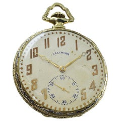Illinois 14 Karat Two Gold Filled Art Deco Opened Faced Pocket Watch from 1922