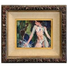 """Illinois Artist Walter Moskow Nude """"Vegas at Night"""" Oil on Board"""
