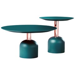 Illo Round Table with Copper Column by Miniforms Lab