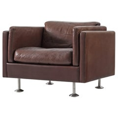 Illum Wikkelsø Brown Leather Club Chair