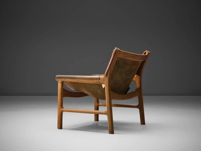 Scandinavian Modern Illum Wikkelsø Easy Chair in Oak and Leather For Sale