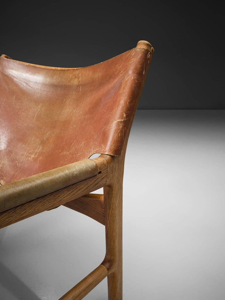 Danish Illum Wikkelsø Easy Chair in Oak and Leather For Sale
