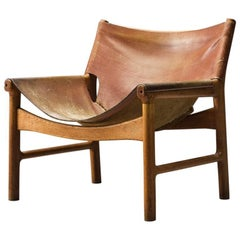 Illum Wikkelsø Easy Chair in Oak and Leather