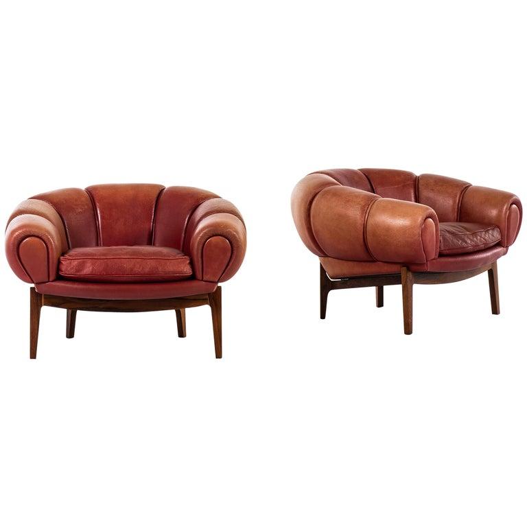 Illum Wikkelsø for Holger Christiansen Croissant chairs, 1950s, offered by Studio Schalling