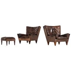 Illum Wikkelsø Easy Chairs Model V11 Produced by Holger Christensen in Denmark