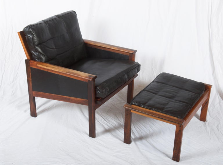 Illum Wikkelsø Easy Chairs with Ottoman Model Capella For Sale 7