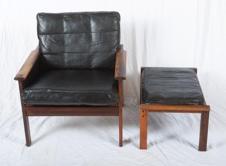 Scandinavian Modern Illum Wikkelsø Easy Chairs with Ottoman Model Capella For Sale