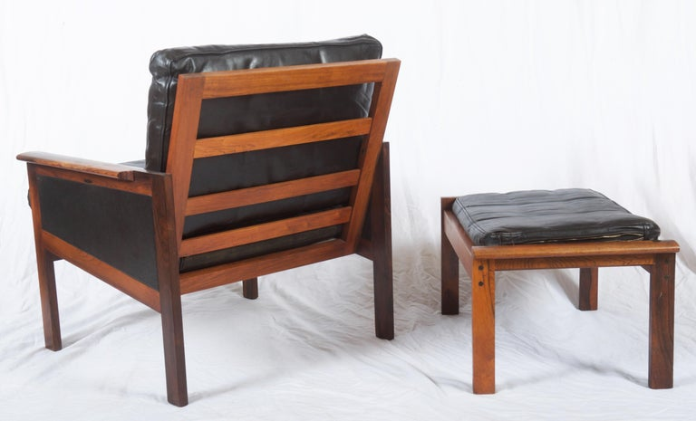 Hardwood Illum Wikkelsø Easy Chairs with Ottoman Model Capella For Sale