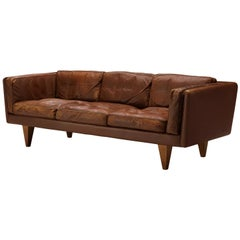 Illum Wikkelsø for Holger Christiansen Three-Seat Sofa 'V11' in Brown Leather