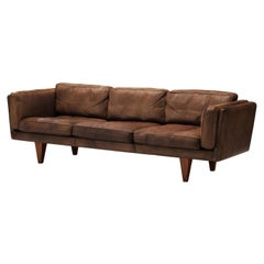 Illum Wikkelsø for Holger Christiansen Three-Seat Sofa 'V11' in Brown Leather