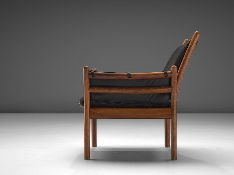 Scandinavian Modern Illum Wikkelsø 'Genius' Chair in Rosewood and Black Leather For Sale