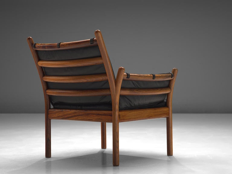 Danish Illum Wikkelsø 'Genius' Chair in Rosewood and Black Leather For Sale