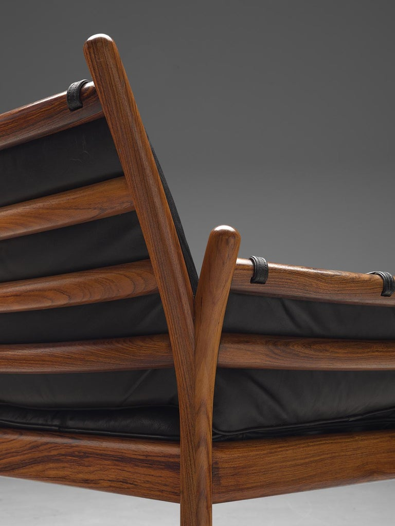 Mid-20th Century Illum Wikkelsø 'Genius' Chair in Rosewood and Black Leather For Sale