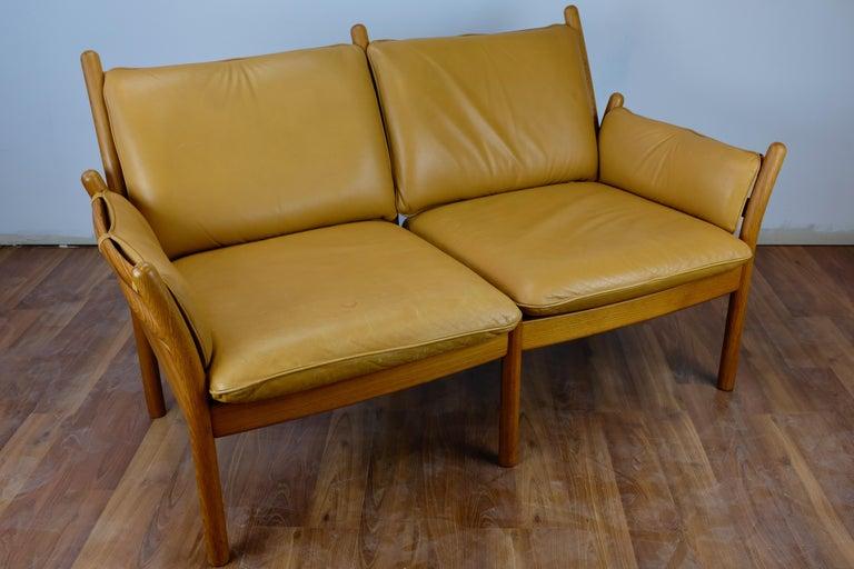 Danish Illum Wikkelsø 'Genius' Loveseat in Leather and Teak For Sale