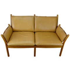 Illum Wikkelsø 'Genius' Loveseat in Leather and Teak