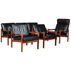 Illum Wikkelsø Living Room Set, Three Seater Sofa and highback lounge chair