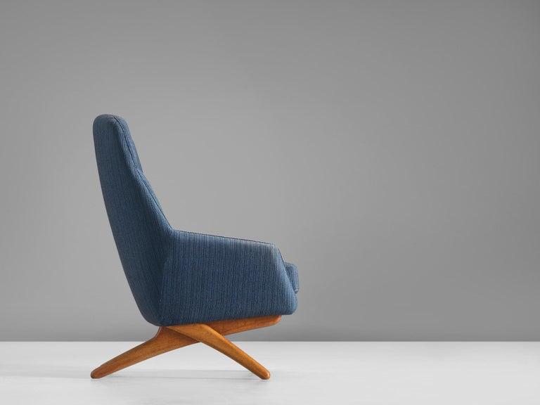 Danish Illum Wikkelsø Lounge Chair in Blue Upholstery For Sale