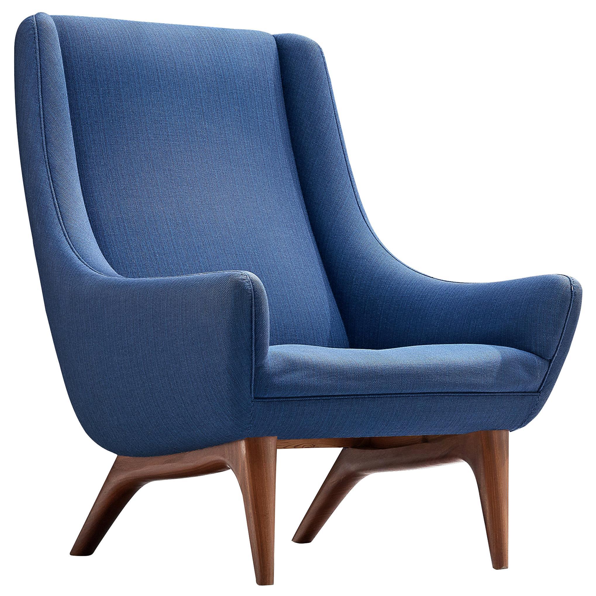 Illum Wikkelsø Lounge Chair in Blue Upholstery