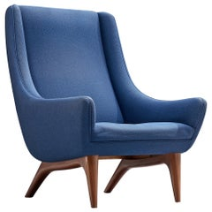 Illum Wikkelsø Lounge Chair in Blue Upholstery