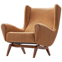 Illum Wikkelsø Lounge Chair in Suede and Teak, 1960s