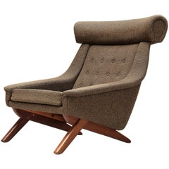 Illum Wikkelsø Lounge Chair 'Ox' in Brown Fabric Upholstery