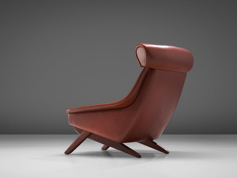 Mid-20th Century Illum Wikkelsø Lounge Chair 'Ox' in Red Leatherette For Sale